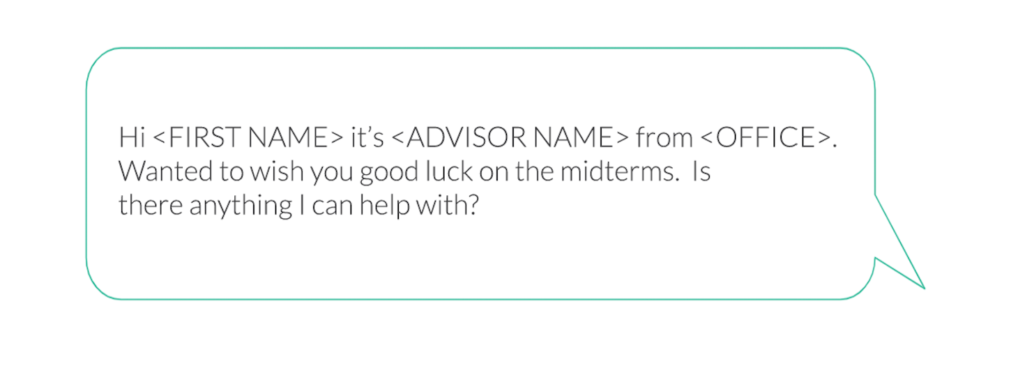text message from advisor