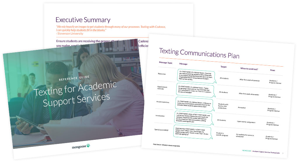 Reference Guide | Texting for Academic Support Services