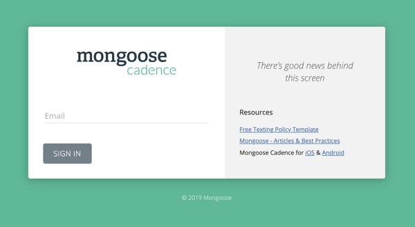 Login screen for Cadence product