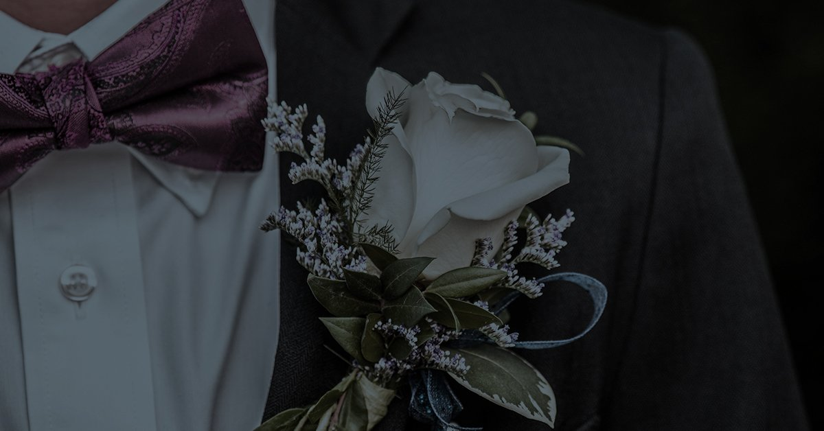 boutonniere on student's suit
