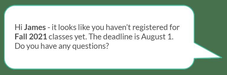 class registration reminder text