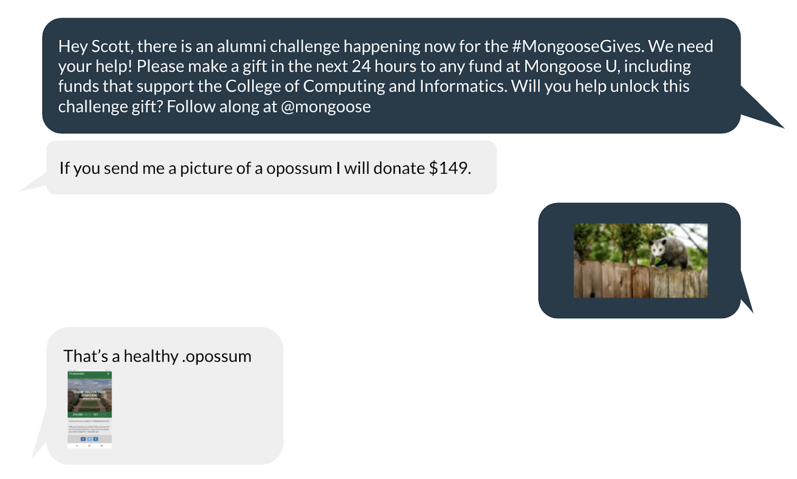 advancement day of giving text