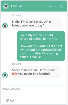 financial aid chatbot conversation