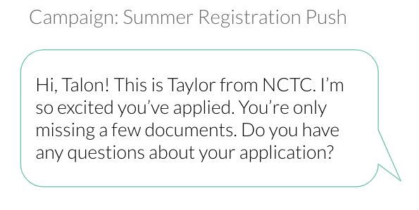 college application text message