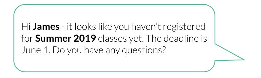 class registration text message