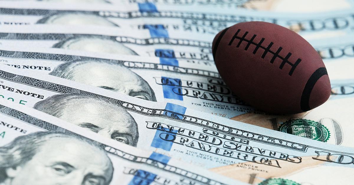 toy football on american money