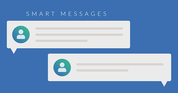 """fake message boxes with lines for text and title of """"Smart messages"""""""